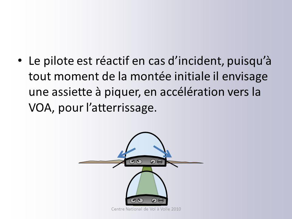 Le pilote est réactif en cas dincident, puisquà tout moment de la montée initiale il envisage une assiette à piquer, en accélération vers la VOA, pour