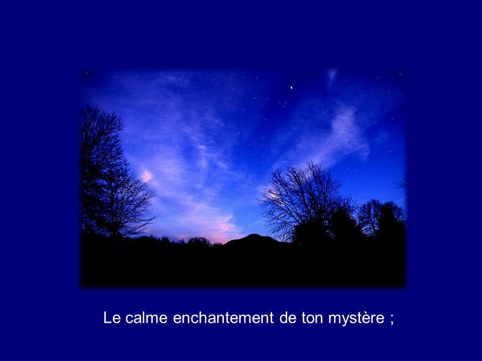 Le calme enchantement de ton mystère ;