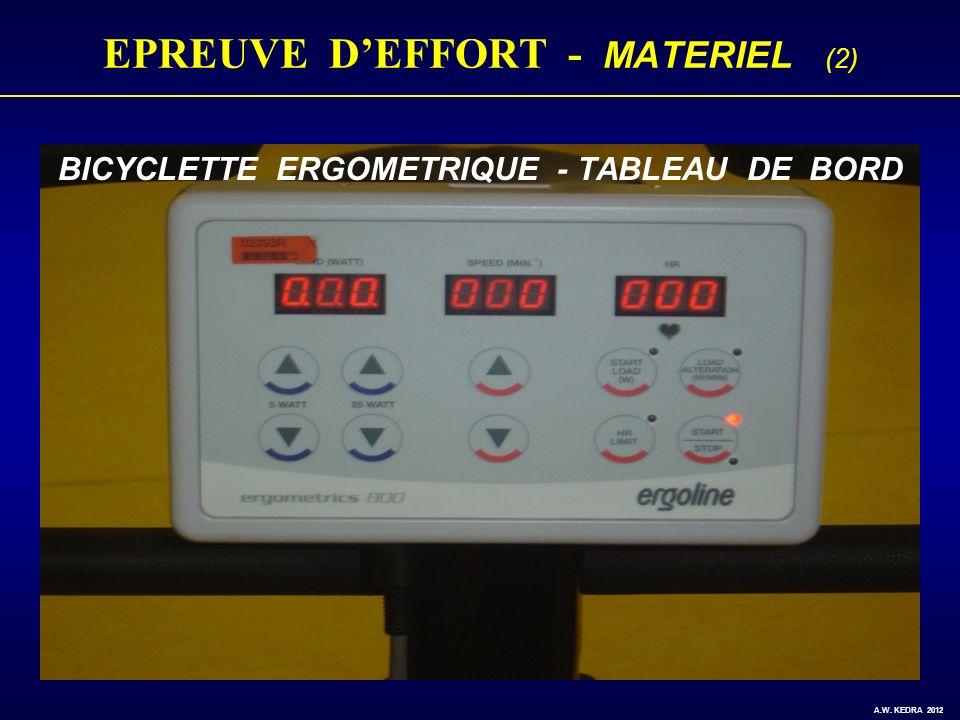 EPREUVE DEFFORT - MATERIEL (2) BICYCLETTE ERGOMETRIQUE - TABLEAU DE BORD A.W. KEDRA 2012
