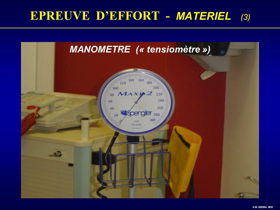EPREUVE DEFFORT - MATERIEL (3) MANOMETRE (« tensiomètre ») A.W. KEDRA 2012