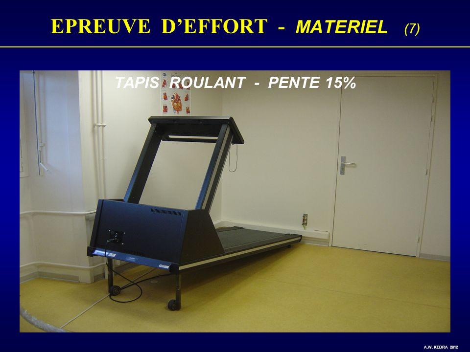 EPREUVE DEFFORT - MATERIEL (7) TAPIS ROULANT - PENTE 15% A.W. KEDRA 2012