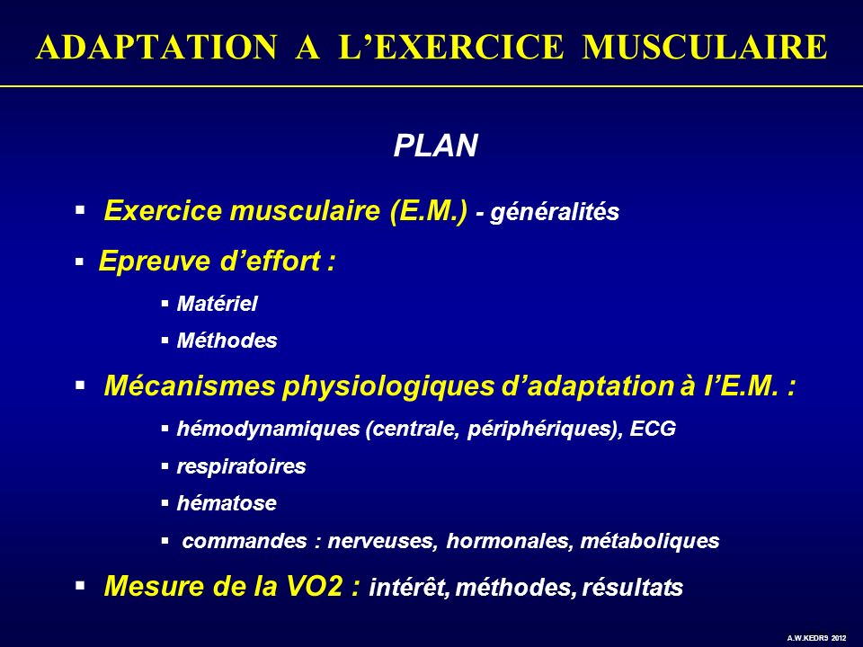 ADAPTATION A LEXERCICE MUSCULAIRE CESSION DOXYGENE EN PERIPHERIE (1) VO 2 locale (muscles actifs) VO 2 locale = Q sang.
