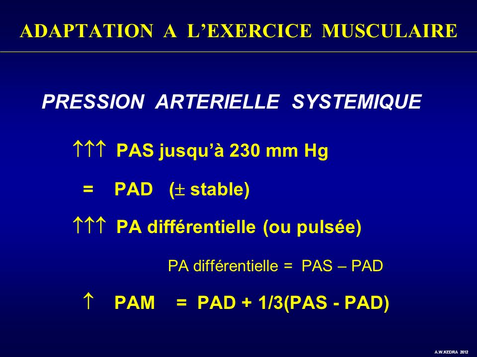 ADAPTATION A LEXERCICE MUSCULAIRE PRESSION ARTERIELLE SYSTEMIQUE PAS jusquà 230 mm Hg = PAD ( stable) PA différentielle (ou pulsée) PA différentielle = PAS – PAD PAM = PAD + 1/3(PAS - PAD) A.W.KEDRA 2012