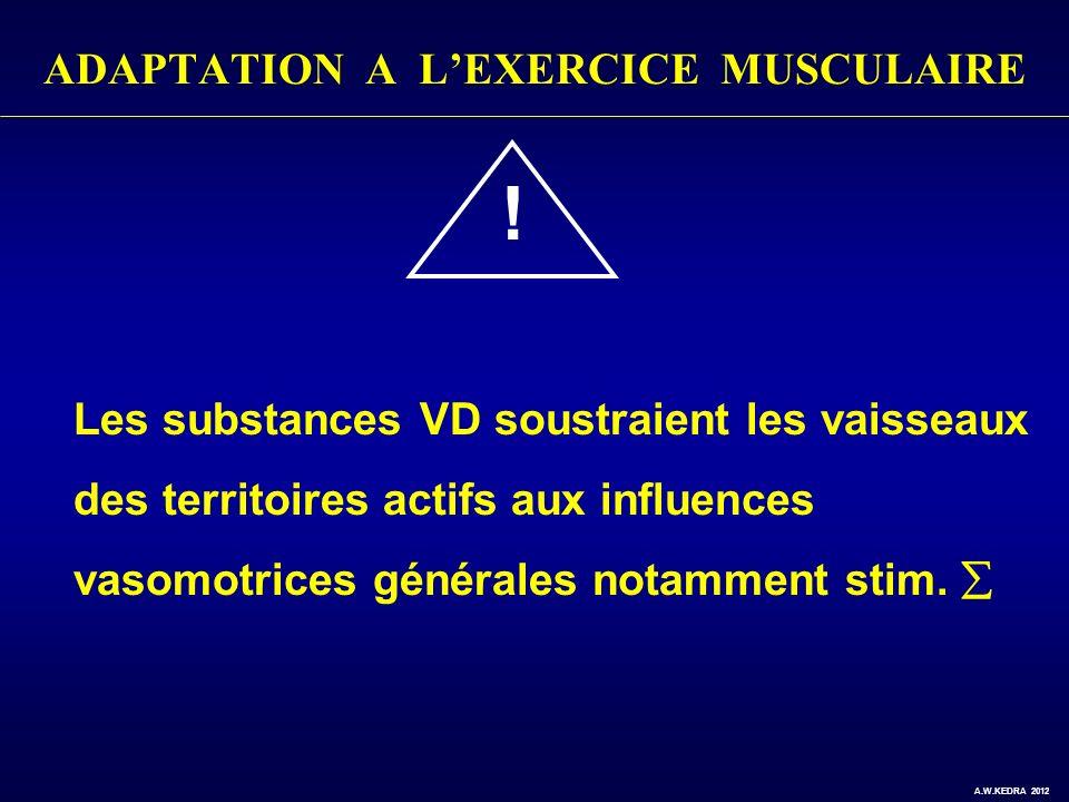 ADAPTATION A LEXERCICE MUSCULAIRE ! Les substances VD soustraient les vaisseaux des territoires actifs aux influences vasomotrices générales notamment