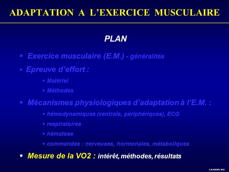 PLAN Exercice musculaire (E.M.) - généralités Epreuve deffort : Matériel Méthodes Mécanismes physiologiques dadaptation à lE.M. : hémodynamiques (cent