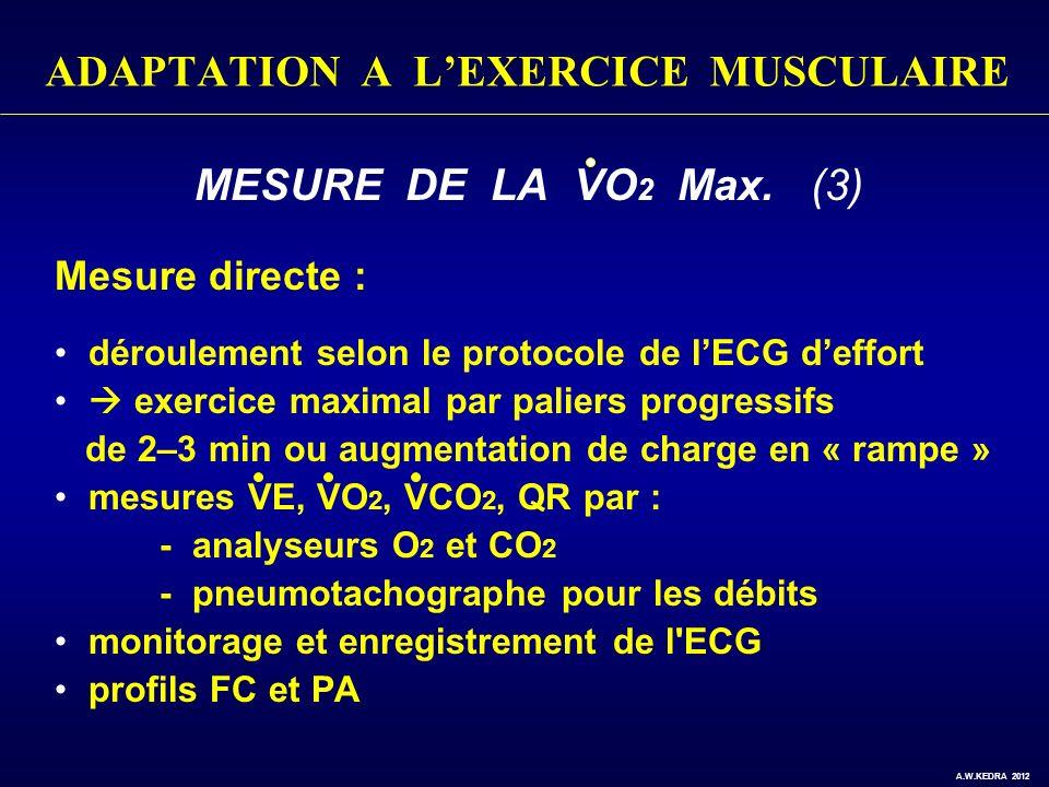 ADAPTATION A LEXERCICE MUSCULAIRE MESURE DE LA VO 2 Max. (3) Mesure directe : déroulement selon le protocole de lECG deffort exercice maximal par pali