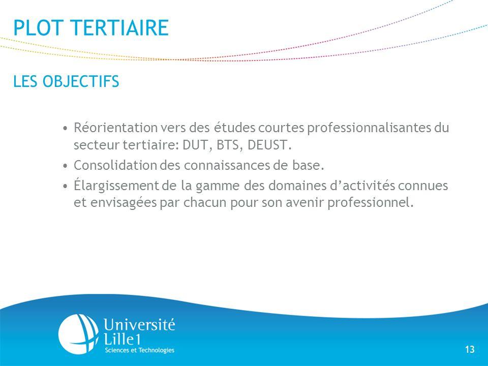 13 PLOT TERTIAIRE LES OBJECTIFS Réorientation vers des études courtes professionnalisantes du secteur tertiaire: DUT, BTS, DEUST. Consolidation des co