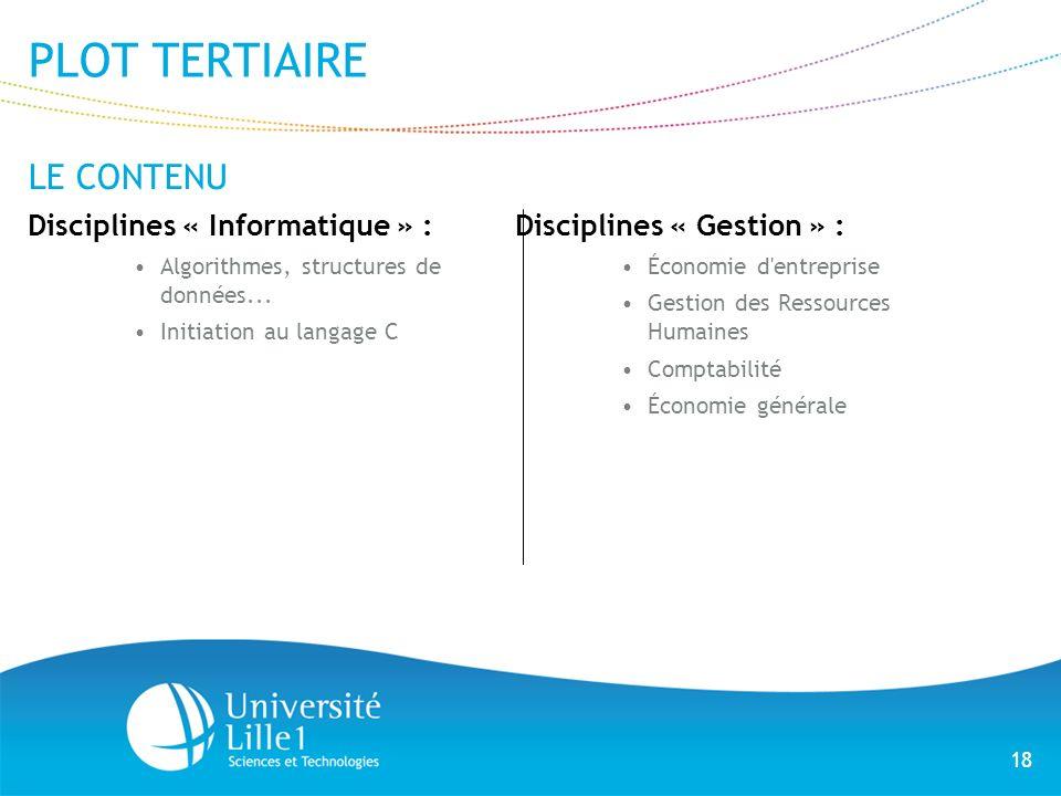 18 PLOT TERTIAIRE LE CONTENU Disciplines « Informatique » : Algorithmes, structures de données... Initiation au langage C Disciplines « Gestion » : Éc