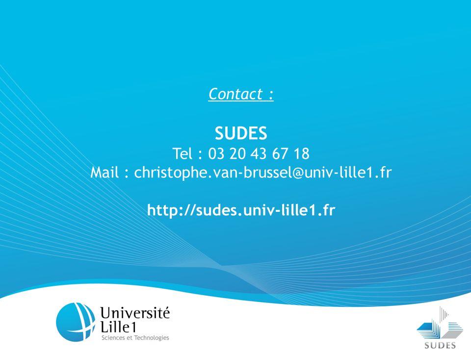 21 Contact : SUDES Tel : 03 20 43 67 18 Mail : christophe.van-brussel@univ-lille1.fr http://sudes.univ-lille1.fr