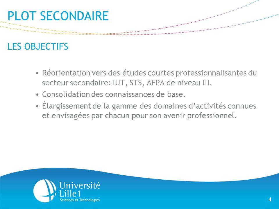 4 PLOT SECONDAIRE LES OBJECTIFS Réorientation vers des études courtes professionnalisantes du secteur secondaire: IUT, STS, AFPA de niveau III. Consol