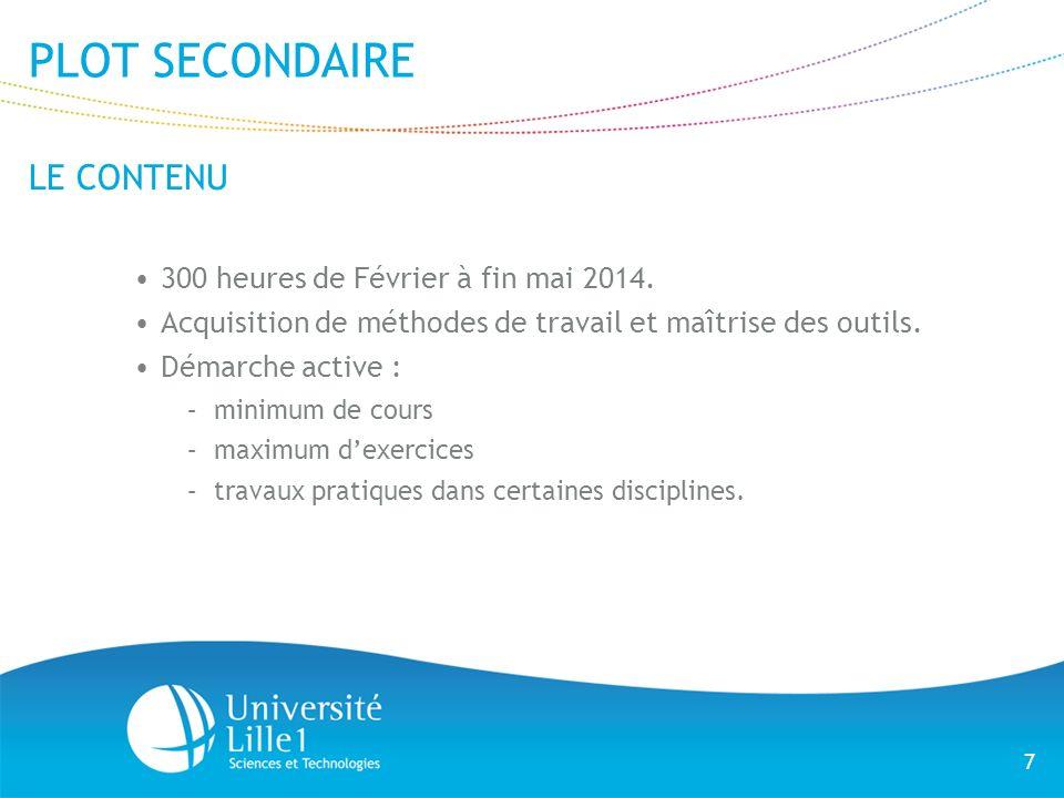 7 PLOT SECONDAIRE LE CONTENU 300 heures de Février à fin mai 2014. Acquisition de méthodes de travail et maîtrise des outils. Démarche active : –minim