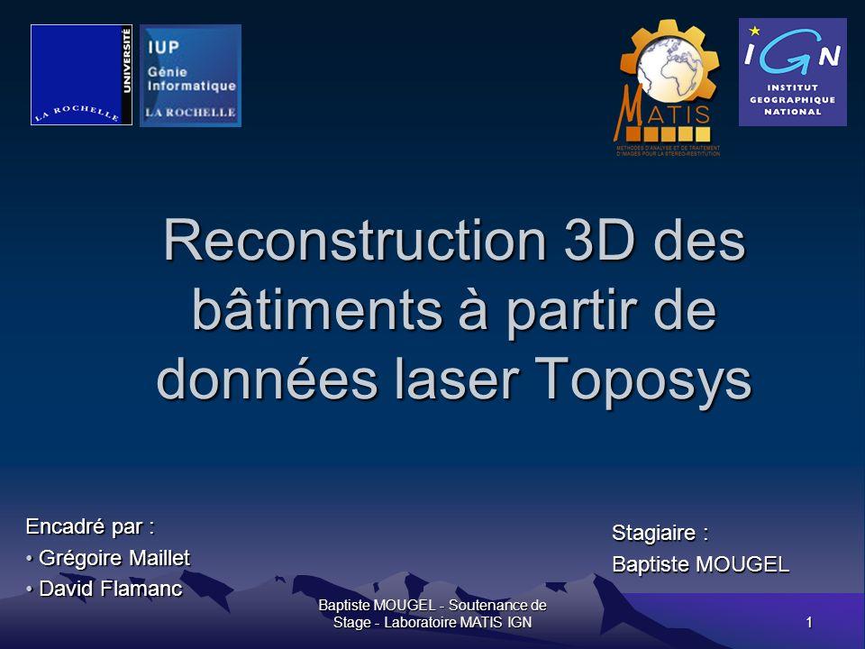 Baptiste MOUGEL - Soutenance de Stage - Laboratoire MATIS IGN12 La fusion de groupe de polygones primaires But de létape: regrouper les polygones primaires qui forment le même plan.