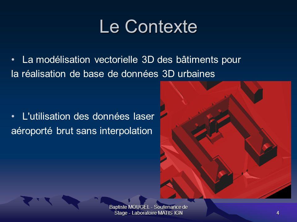 Baptiste MOUGEL - Soutenance de Stage - Laboratoire MATIS IGN15 La densification du MNE facette Caricature pour amélioration géométrique du modèle.