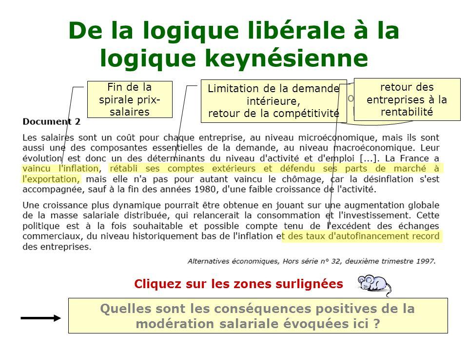 De la logique libérale à la logique keynésienne document du bac 2001 Quelles sont les conséquences positives de la modération salariale évoquées ici .