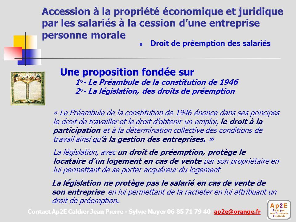 Accession à la propriété économique et juridique par les salariés à la cession dune entreprise personne morale La législation ne protège pas le salarié en cas de vente de son entreprise en lui permettant de la racheter en lui attribuant un droit de préemption.