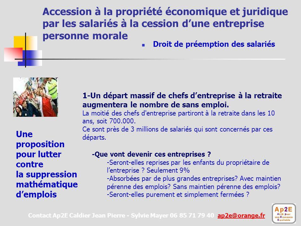 Accession à la propriété économique et juridique par les salariés à la cession dune entreprise personne morale un droit de préemption.