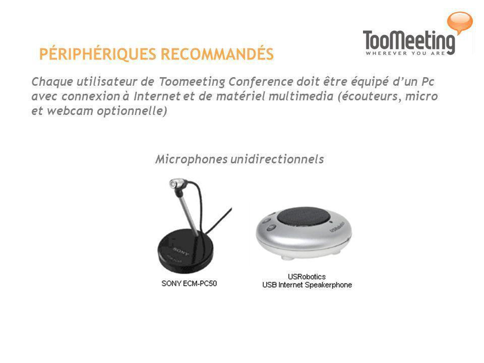 PÉRIPHÉRIQUES RECOMMANDÉS Chaque utilisateur de Toomeeting Conference doit être équipé dun Pc avec connexion à Internet et de matériel multimedia (écouteurs, micro et webcam optionnelle) Microphones unidirectionnels