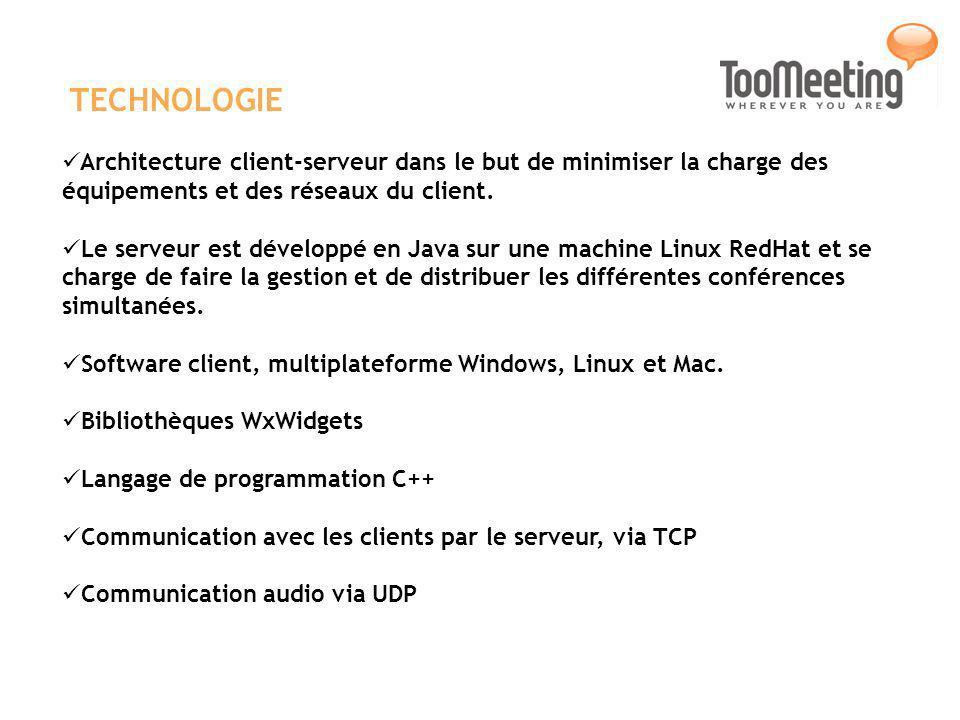 TECHNOLOGIE Architecture client-serveur dans le but de minimiser la charge des équipements et des réseaux du client. Le serveur est développé en Java
