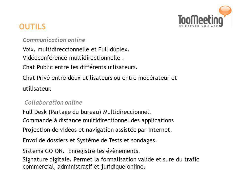 OUTILS Communication online Voix, multidireccionnelle et Full dúplex.