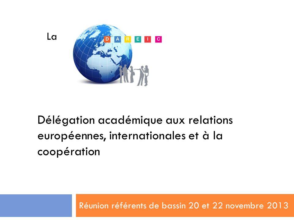 Réunion référents de bassin 20 et 22 novembre 2013 La Délégation académique aux relations européennes, internationales et à la coopération