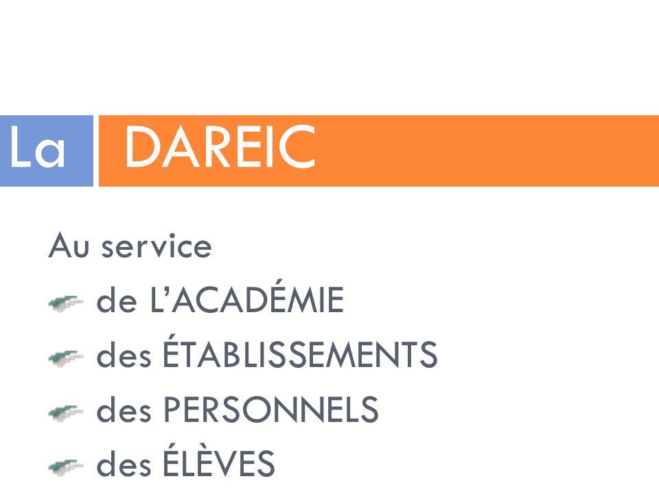 Au service de LACADÉMIE des ÉTABLISSEMENTS des PERSONNELS des ÉLÈVES La DAREIC