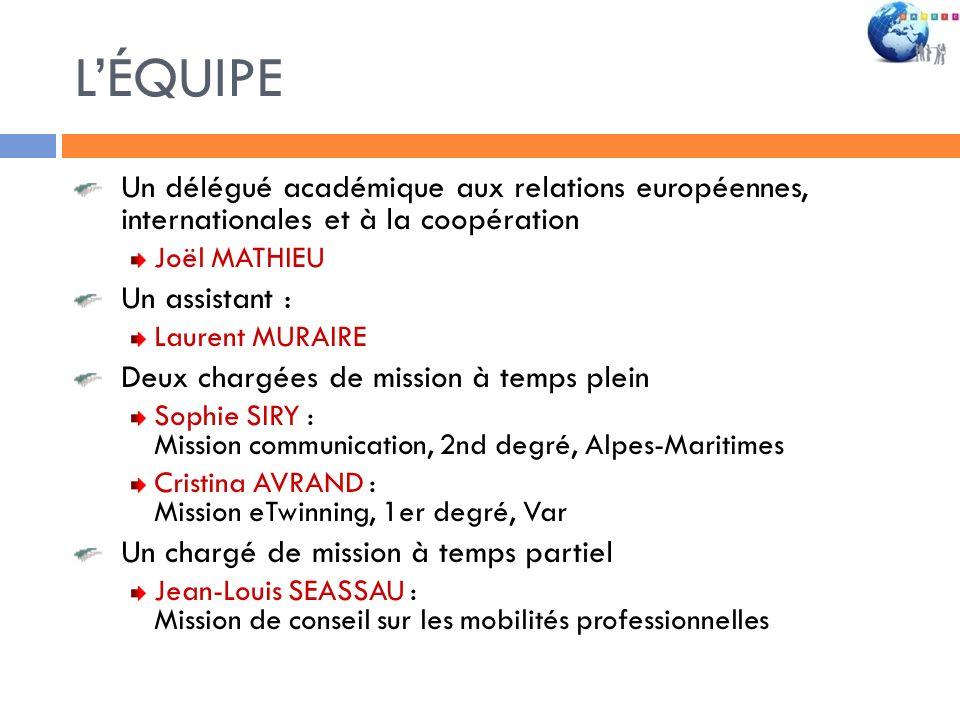 LÉQUIPE Un délégué académique aux relations européennes, internationales et à la coopération Joël MATHIEU Un assistant : Laurent MURAIRE Deux chargées