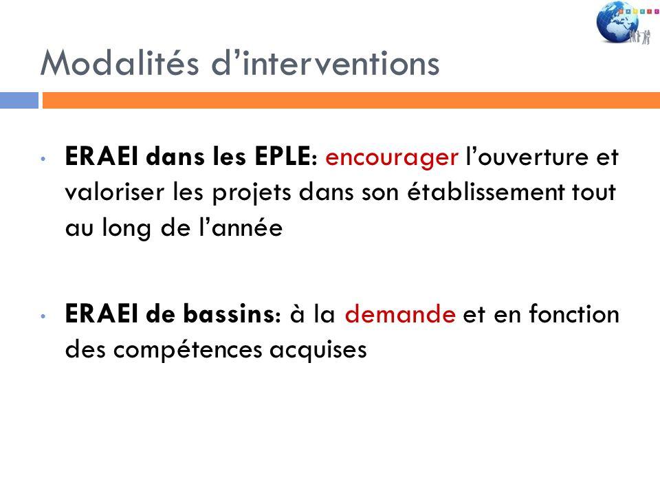 Modalités dinterventions ERAEI dans les EPLE: encourager louverture et valoriser les projets dans son établissement tout au long de lannée ERAEI de ba