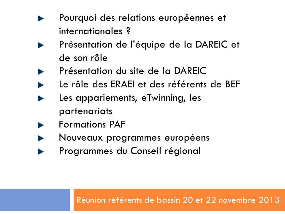 Réunion référents de bassin 20 et 22 novembre 2013 Pourquoi des relations européennes et internationales ? Présentation de léquipe de la DAREIC et de