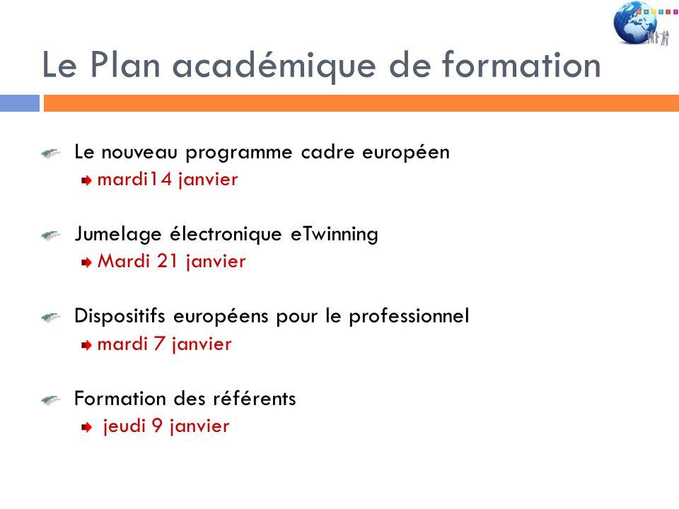 Le Plan académique de formation Le nouveau programme cadre européen mardi14 janvier Jumelage électronique eTwinning Mardi 21 janvier Dispositifs europ