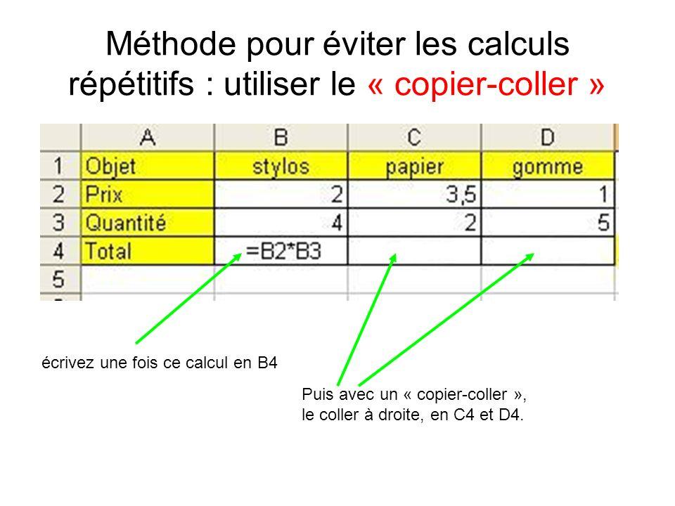 Méthode pour éviter les calculs répétitifs : utiliser le « copier-coller » écrivez une fois ce calcul en B4 Puis avec un « copier-coller », le coller