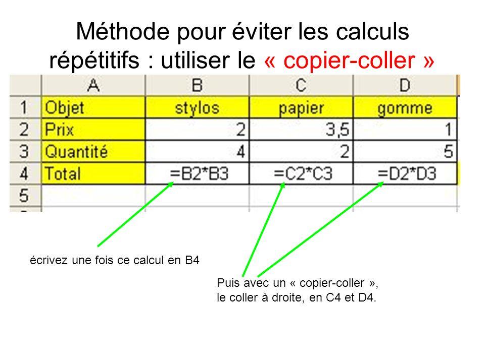 Méthode pour éviter les calculs répétitifs : utiliser le « copier-coller » écrivez une fois ce calcul en B4 Puis avec un « copier-coller », le coller à droite, en C4 et D4.
