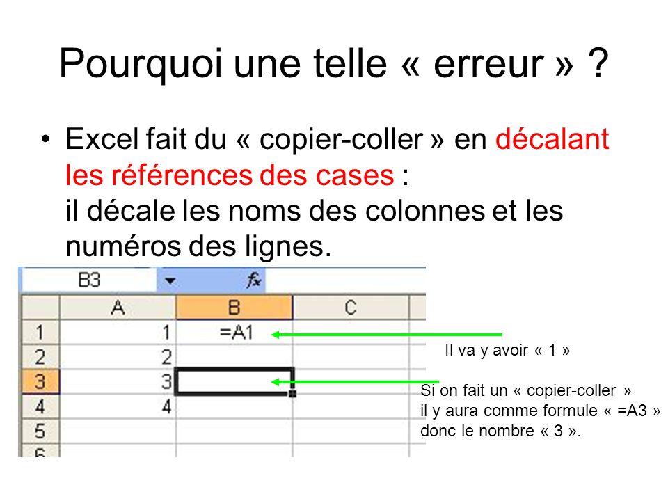 Pourquoi une telle « erreur » ? Excel fait du « copier-coller » en décalant les références des cases : il décale les noms des colonnes et les numéros