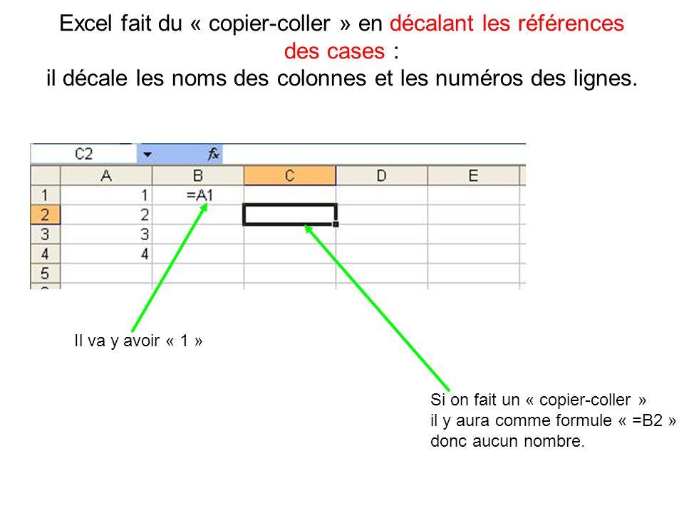 Excel fait du « copier-coller » en décalant les références des cases : il décale les noms des colonnes et les numéros des lignes. Il va y avoir « 1 »