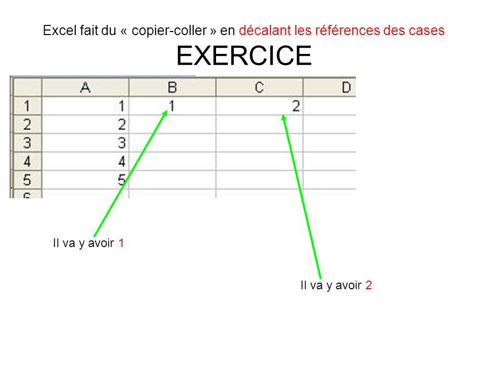 Excel fait du « copier-coller » en décalant les références des cases EXERCICE Il va y avoir 1 Il va y avoir 2