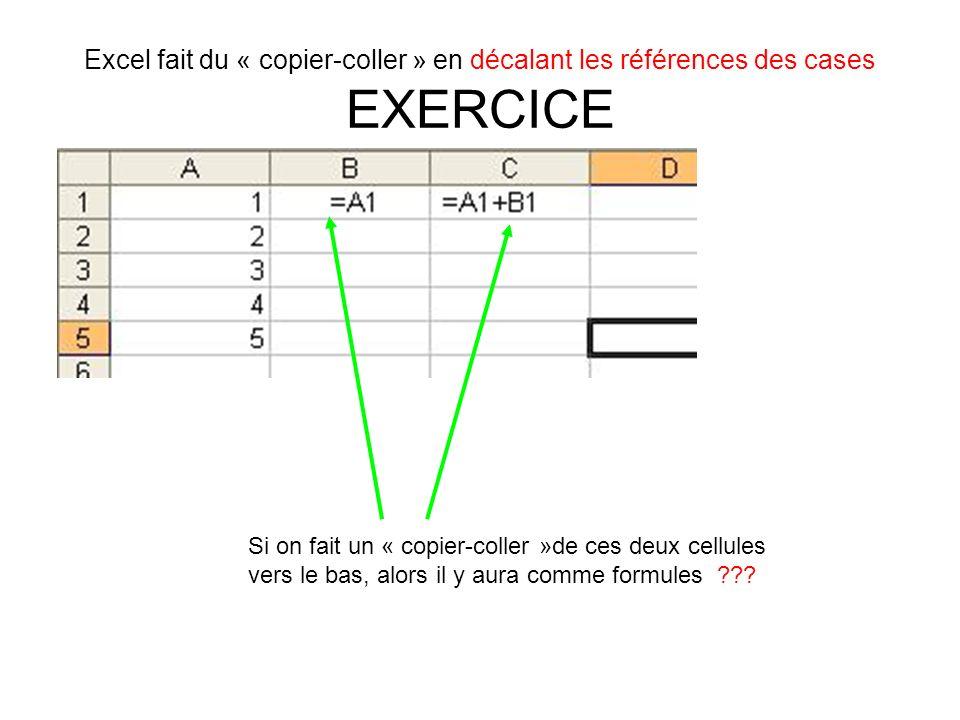 Excel fait du « copier-coller » en décalant les références des cases EXERCICE Si on fait un « copier-coller »de ces deux cellules vers le bas, alors i