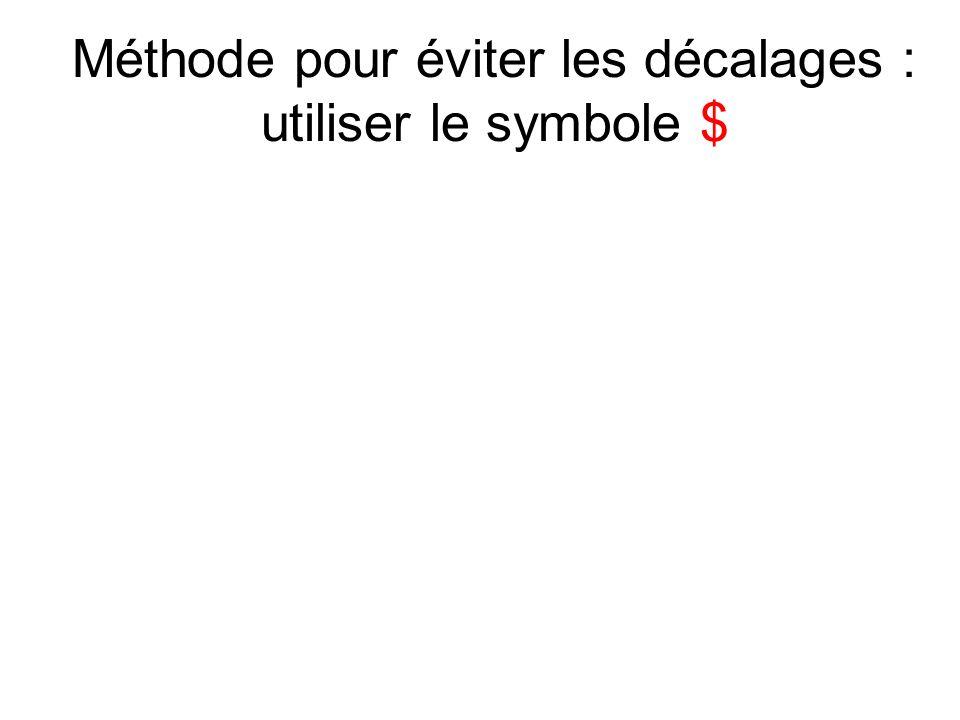 Méthode pour éviter les décalages : utiliser le symbole $