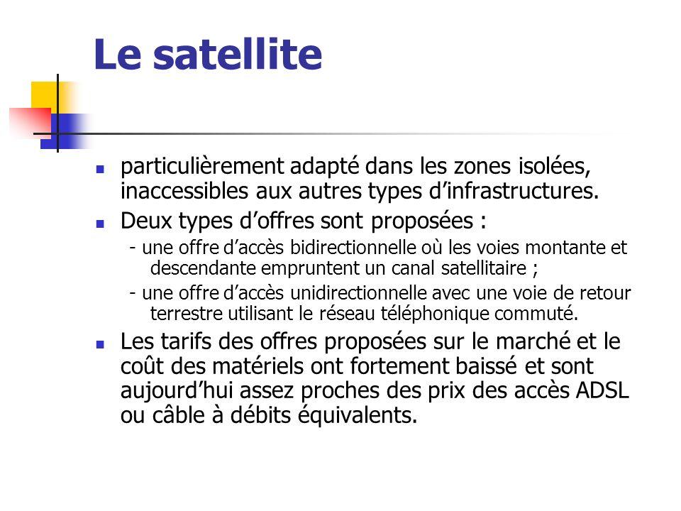 Le satellite particulièrement adapté dans les zones isolées, inaccessibles aux autres types dinfrastructures. Deux types doffres sont proposées : - un