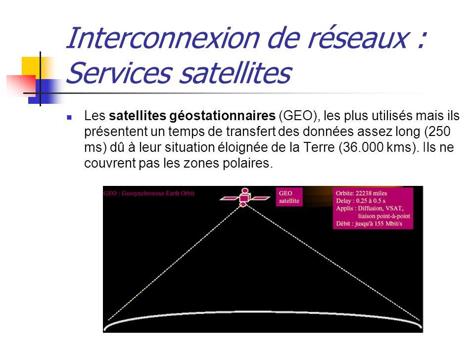 Interconnexion de réseaux : Services satellites Les satellites géostationnaires (GEO), les plus utilisés mais ils présentent un temps de transfert des