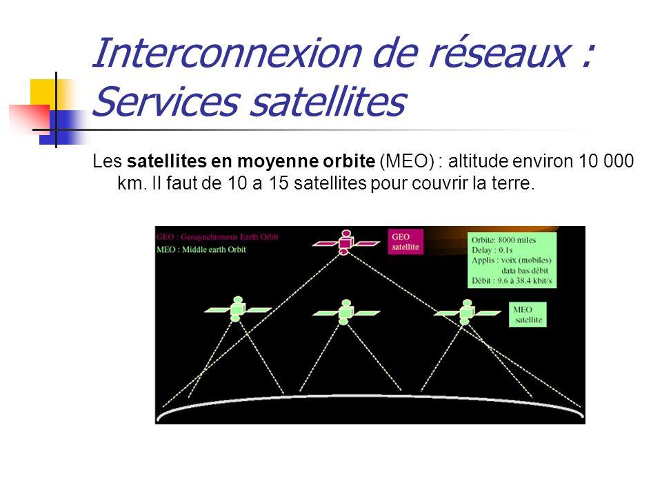 Interconnexion de réseaux : Services satellites Les satellites en moyenne orbite (MEO) : altitude environ 10 000 km. Il faut de 10 a 15 satellites pou