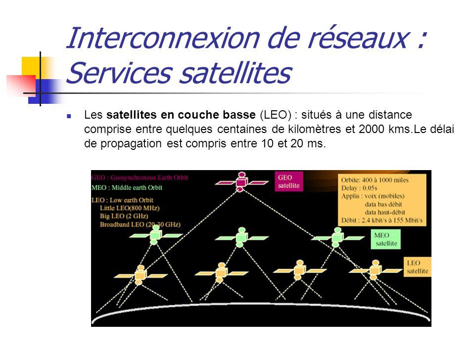 Interconnexion de réseaux : Services satellites Les satellites en couche basse (LEO) : situés à une distance comprise entre quelques centaines de kilo