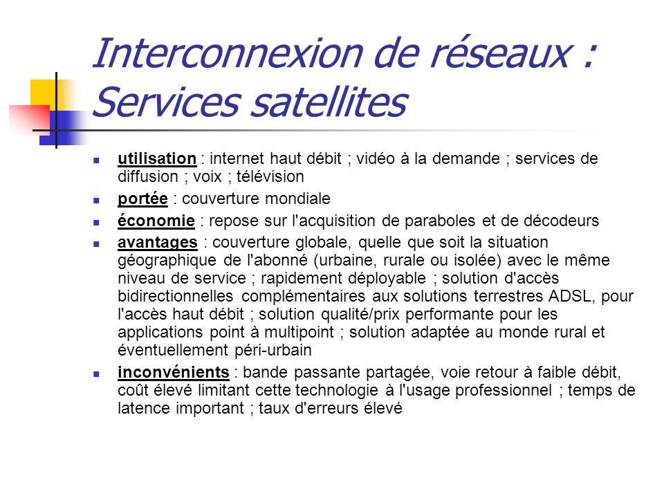 Interconnexion de réseaux : Services satellites utilisation : internet haut débit ; vidéo à la demande ; services de diffusion ; voix ; télévision por