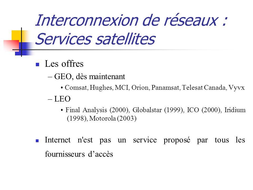 Interconnexion de réseaux : Services satellites Les offres – GEO, dès maintenant Comsat, Hughes, MCI, Orion, Panamsat, Telesat Canada, Vyvx – LEO Fina