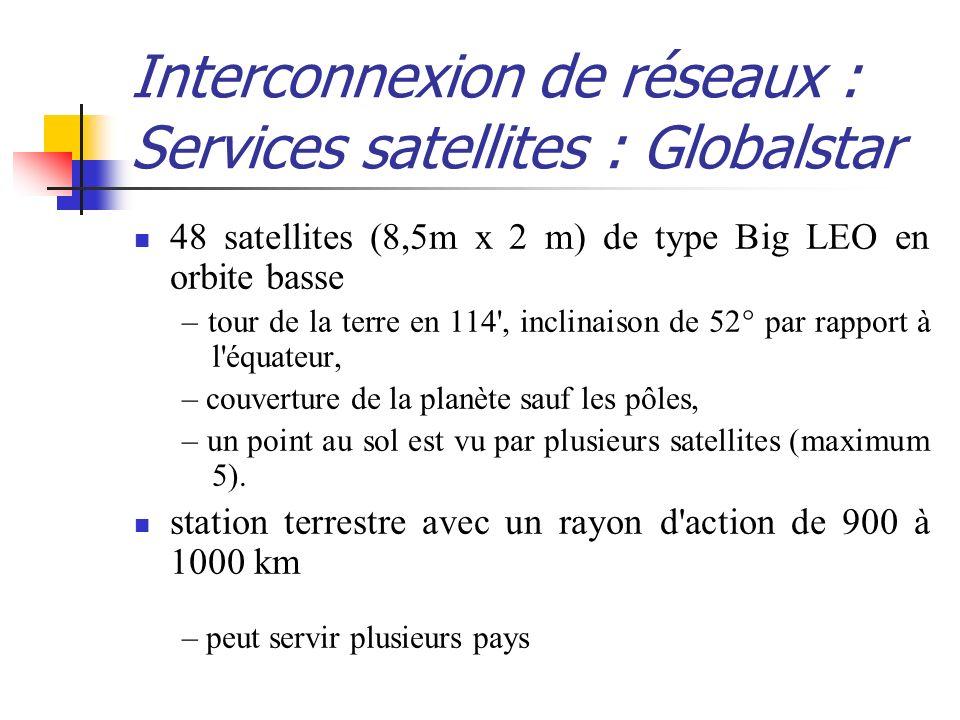 Interconnexion de réseaux : Services satellites : Globalstar 48 satellites (8,5m x 2 m) de type Big LEO en orbite basse – tour de la terre en 114', in