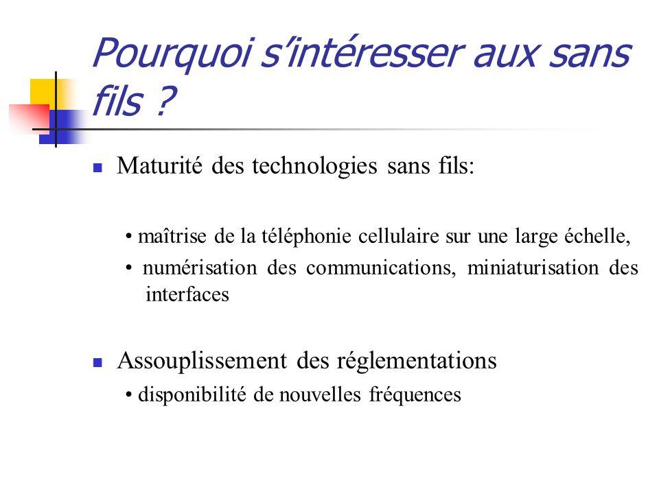 Wi-Fi 802.11a utilisation : réseaux informatiques débit maximum : débit théorique : 54Mb/s fréquence : de 5150 MHz à 5350 MHz et de 5470 Mhz à 5725 MHz portée : de 20 à 30 mètres avantages : débits supérieurs inconvénients : matériel non compatible avec le 802.11b (fréquence différente) ; réglementation stricte
