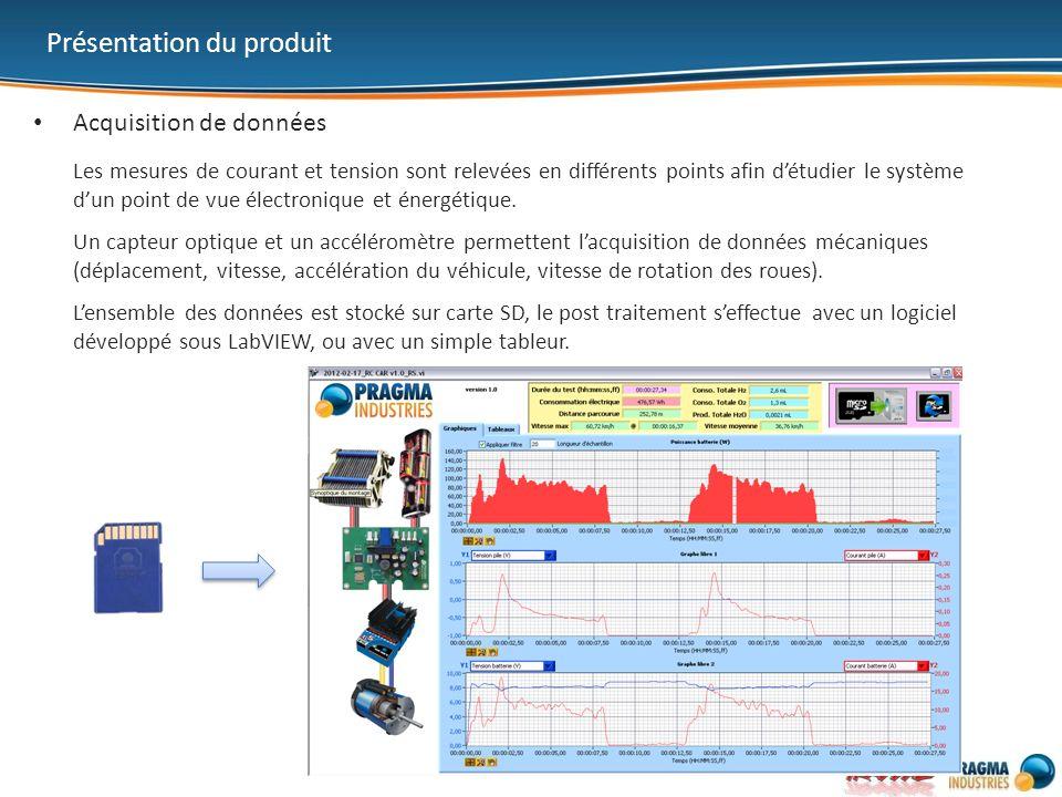 Présentation du produit Acquisition de données Les mesures de courant et tension sont relevées en différents points afin détudier le système dun point de vue électronique et énergétique.