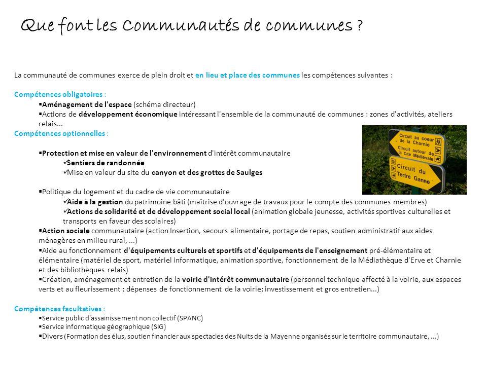 Q ue font les Communautés de communes ? La communauté de communes exerce de plein droit et en lieu et place des communes les compétences suivantes : C