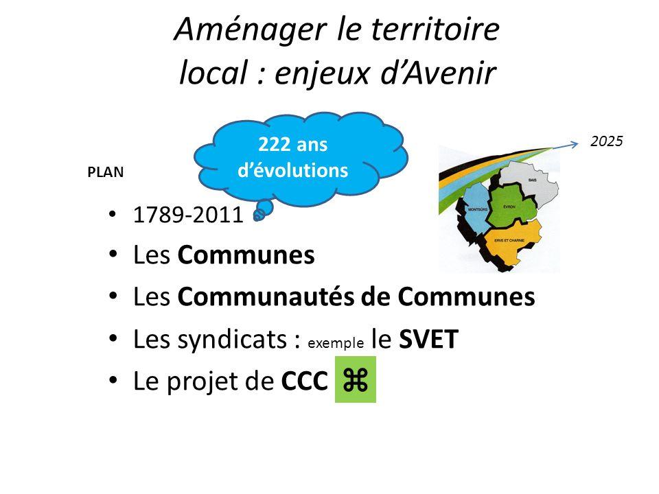 Aménager le territoire local : enjeux dAvenir 1789-2011 Les Communes Les Communautés de Communes Les syndicats : exemple le SVET Le projet de CCC 222