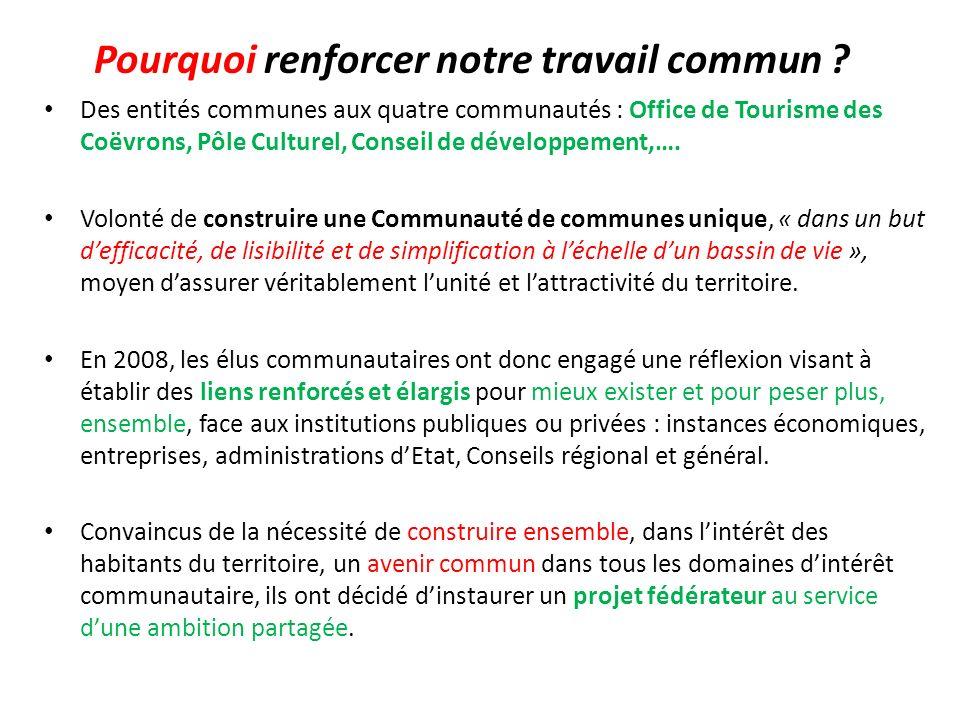 Pourquoi renforcer notre travail commun ? Des entités communes aux quatre communautés : Office de Tourisme des Coëvrons, Pôle Culturel, Conseil de dév