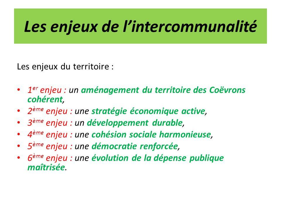Les enjeux de lintercommunalité Les enjeux du territoire : 1 er enjeu : un aménagement du territoire des Coëvrons cohérent, 2 ème enjeu : une stratégi