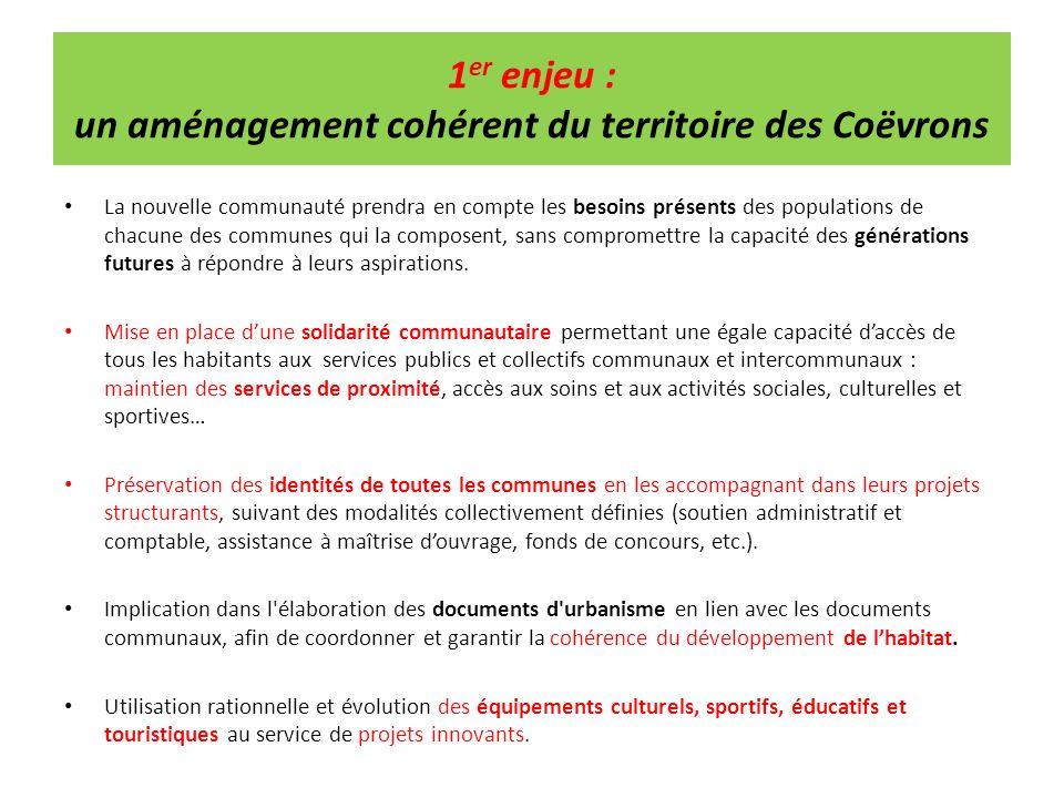 1 er enjeu : un aménagement cohérent du territoire des Coëvrons La nouvelle communauté prendra en compte les besoins présents des populations de chacu